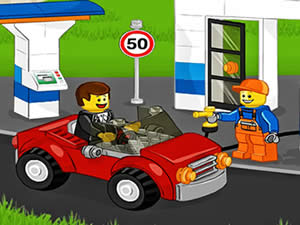 Lego Car At Gas Station
